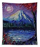 Mount Fuji - Textural Impressionist Palette Knife Impasto Oil Painting Mona Edulesco Tapestry