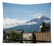 Mount Fuyji From A Distance With Clouds Around It Tapestry