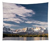 Mountain Range At Sunset Seen From Rio Tapestry