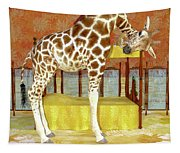 Ms Kitty And Her Giraffe  Tapestry