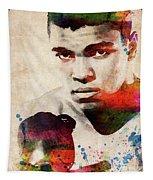 Muhammad Ali Watercolor Portrait Tapestry