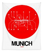 Munich Red Subway Map Tapestry