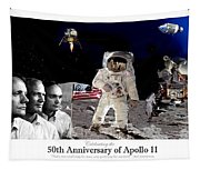 Nasa 50th Anniversary Of The Apollo 11 Lunar Landing By Artist Todd Krasovetz Tapestry