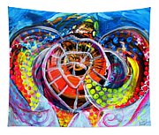 Neon Sea Turtle Wake And Drag Tapestry