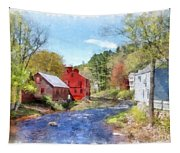 New Boston New Hampshire Watercolor Tapestry