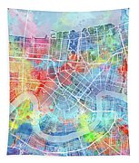 New Orleans Map Watercolor Tapestry