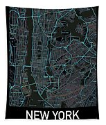 New York City Map Black Edition Tapestry by Helge
