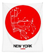 New York Red Subway Map Tapestry
