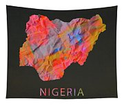 Nigeria Tie Dye Country Map Tapestry