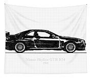 Nissan Skyline Gt-r R34 1989 Black And White Illustration Tapestry