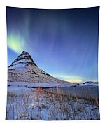 Northern Lights Atop Kirkjufell Iceland Tapestry by Nathan Bush