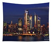 Nyc Sundown Gold And Twilight Skies Tapestry