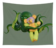 Octopus Green And Bear Tapestry
