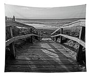 Ogunquit Beach Footbridge At Sunrise Ogunquit Maine Black And White Tapestry
