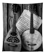 Old Banjo And Mandolin Black And White Tapestry