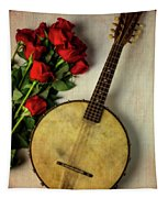 Old Banjo And Roses Tapestry