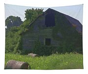 Old Barn And Hay Bales 2 Tapestry