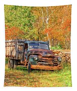 Old Farm Truck Fall Foliage Vermont Square Tapestry