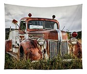 Old Fire Truck In The Mountains Tapestry