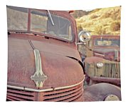 Old Friends Two Rusty Vintage Cars Jerome Arizona Tapestry