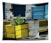 Old Pallet Painted White, Blue And Yellow Used As Flower Pot Tapestry