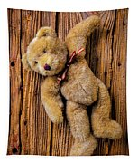 Old Teddy Bear Hanging On The Door Tapestry