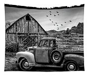 Old Truck At The Barn Bordered Black And White Tapestry