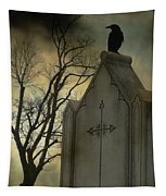 Ominous Clouds Surround Crow Tapestry