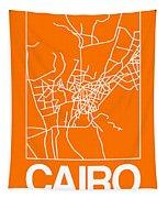 Orange Map Of Cairo Tapestry
