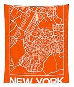 Orange Map Of New York Tapestry