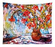 Orange Trumpet Flowers Tapestry