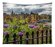 Overlooking The Train Station In Edinburgh Tapestry