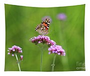 Painted Lady Butterfly In Green Field Tapestry