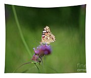 Painted Lady Butterfly In Shadows Tapestry