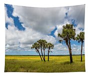 Palm Trees In The Field Of Coreopsis Tapestry