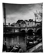 Paris At Night - Seine River Towards Pont Neuf Tapestry by Miles Whittingham