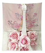 Paris Shabby Chic Pink White Roses Eiffel Tower Baby Girl Nursery Decor - Paris Pink Roses Tapestry