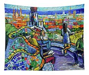 Park Guell Enchanted Visitors - Impasto Palette Knife Stylized Cityscape Tapestry