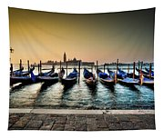 Parked Gondolas, Early Morning In Venice, Italy.  Tapestry
