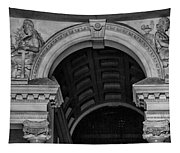 Philadelphia City Hall Fresco In Black And White Tapestry