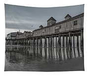 Pier At Dawn In Maine Tapestry