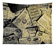 Piled Paper Postcards Tapestry