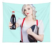 Pin-up Girl Holding Soft Drink Bottle Tapestry