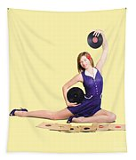 Pin-up Woman Balancing Sound With Record Music Tapestry