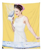 Pin Up Woman Providing Steam Clean Ironing Service Tapestry