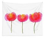 Pink Beauties Watercolor Painting Tapestry