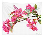 Pink Flowering Tree Blossoms Tapestry