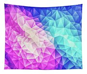 Pink Ice Blue  Abstract Polygon Crystal Cubism Low Poly Triangle Design Tapestry