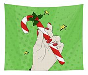 Pop Art Candy Cane Tapestry