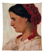 Portrait Of Angela B Cklin In Red Fishnet Tapestry